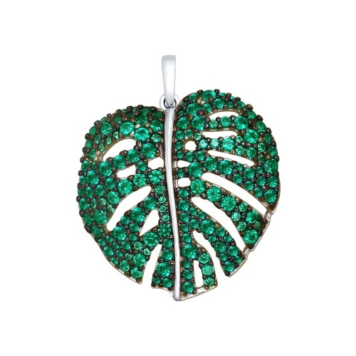 SOKOLOV - Leaves Pendant - 925 Silver With CZ, Green