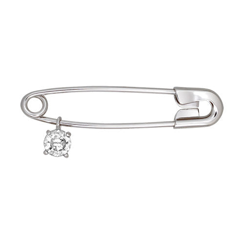 "SOKOLOV - Silver Safety Pin ""Evil Eye Protection"", With CZ"