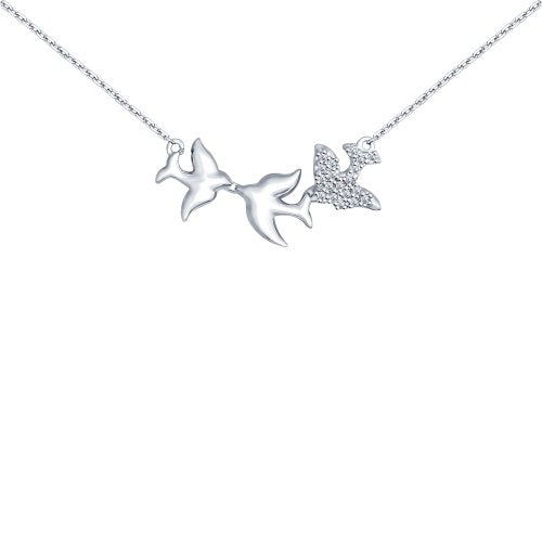 SOKOLOV - Three Doves Necklace - Sterling Silver 925 With Cubic Zirconia