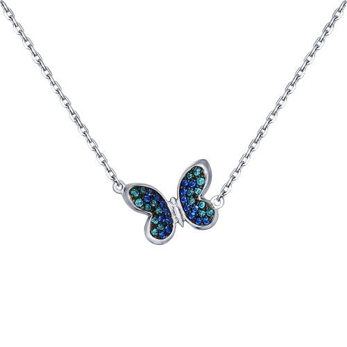 SOKOLOV - Butterfly Silver Necklace With Cubic Zirconia, Blue