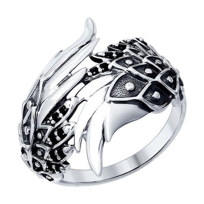 SOKOLOV - Blackened Silver Wings Ring With Phianites