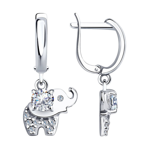 SOKOLOV - Elephant Silver Earrings With Cubic Zirconia