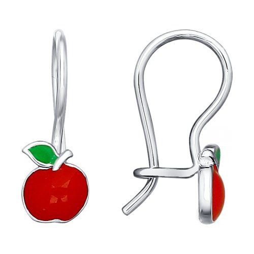 SOKOLOV - Kids 925 Silver Apple Earrings, Red Enamel