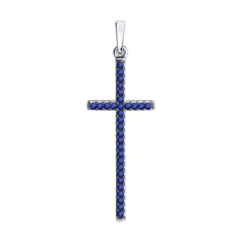 SKLV by SOKOLOV - Cross Pendant With Phianites, Blue