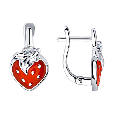 SOKOLOV - Kids 925 Silver Strawberry Earrings, Red Enamel