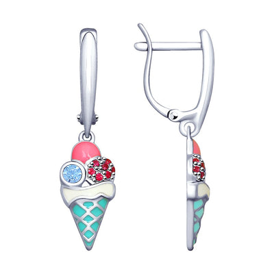 SOKOLOV - Ice Cream Sterling Silver Kids Drop Earrings With Enamel And CZ