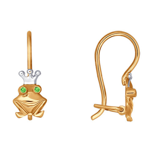 SOKOLOV - Red Gold Princess Frog Earrings