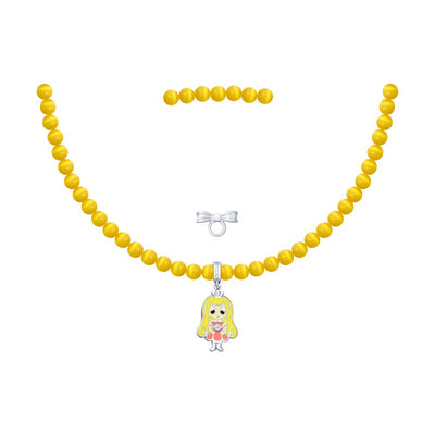SOKOLOV JUST | MISS - Girls Cat's Eye Necklace With Silver Princess Charm