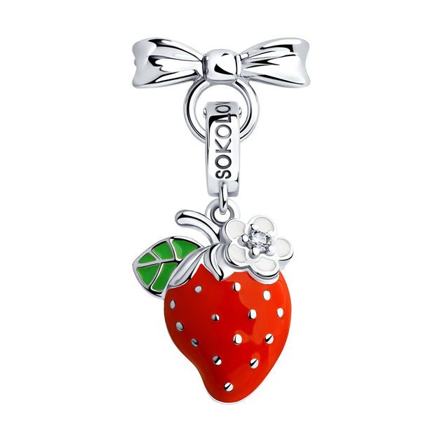 SOKOLOV JUST | MISS - Girls Cat's Eye Necklace With Silver Strawberry Charm