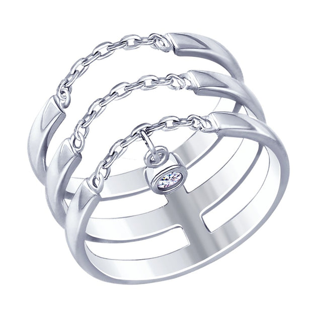 SOKOLOV - Silver Triple Thread Ring, With CZ