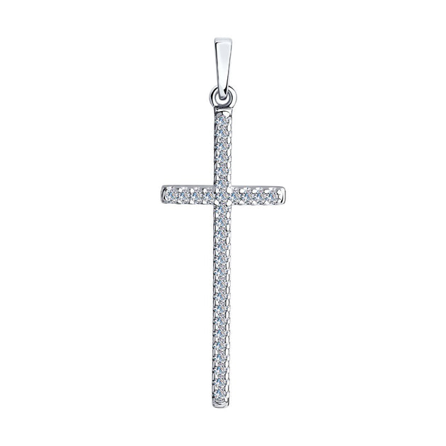 SKLV by SOKOLOV - Cross Pendant With Phianites, Clear