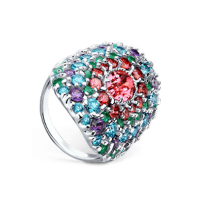 SOKOLOV - Silver Russe Ring With Pink Swarovski Crystal And Phianites