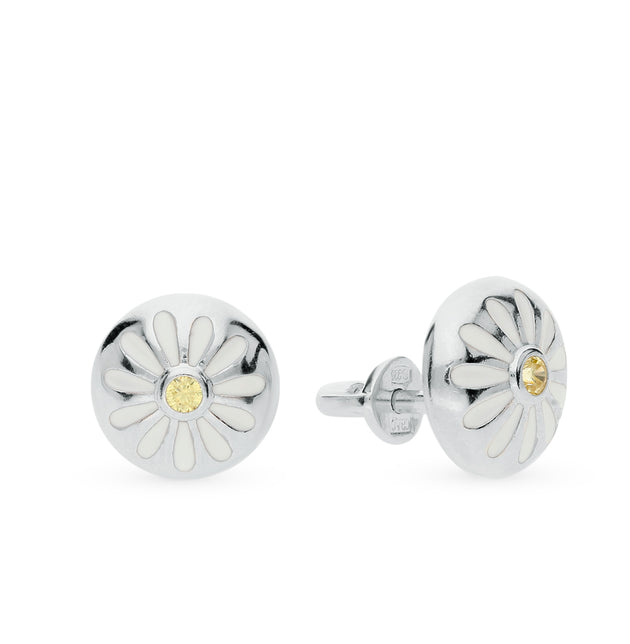 SOKOLOV - Daisy Stud Earrings - Silver With Enamel
