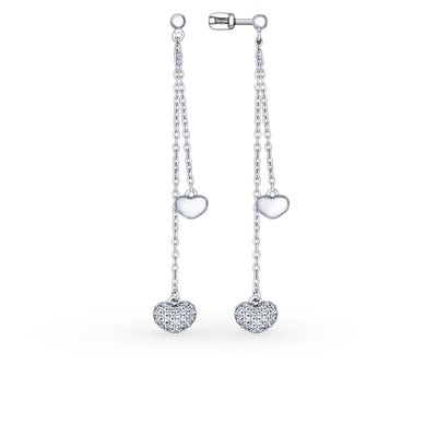 SOKOLOV - Hearts On A Chain Drop Earrings - Silver With CZ