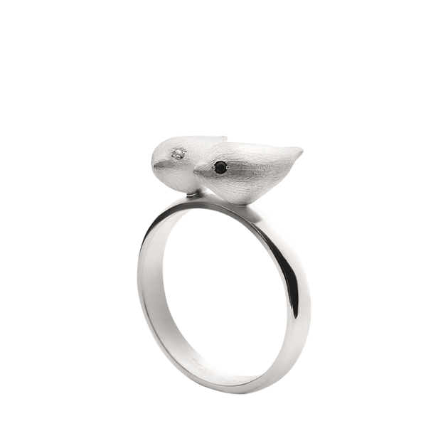 ALCHEMIA.MOSCOW - Satin SIlver Two Nightingales Ring