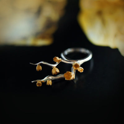 ALCHEMIA.MOSCOW - Spring Silver Ring With Gold Plated Flowers