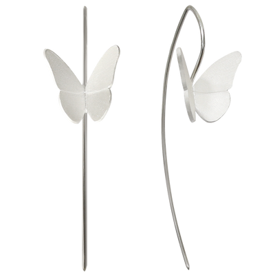 ALCHEMIA.MOSCOW - Silver Satin Butterflies Long Earrings