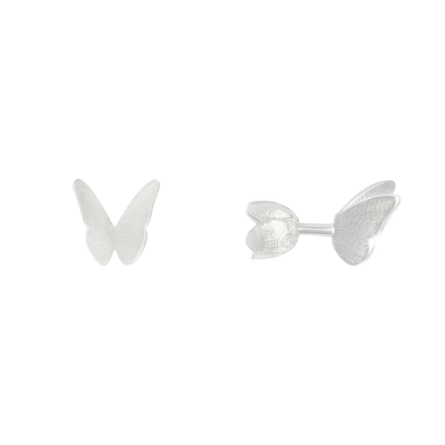 ALCHEMIA.MOSCOW - Butterfly And Spring Flower Silver Stud Earrings