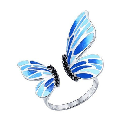 SOKOLOV - Colorful Butterfly Wings Open Ring - Sterling Silver 925 With Enamel, Blue