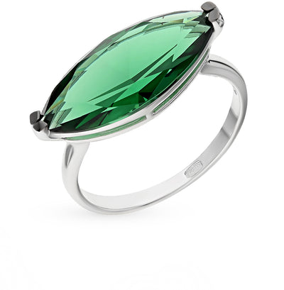 SOKOLOV - Green Ring With Nanosital, Sterling Silver 925