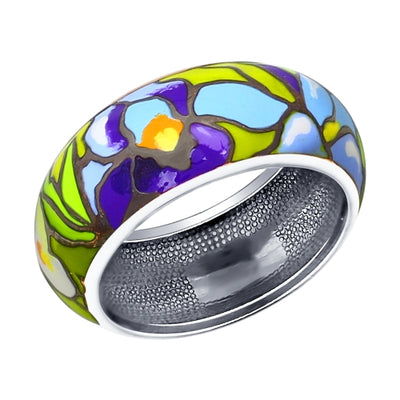 SOKOLOV - Van Gogh Iris Ring - Silver With Enamel, Multicolor