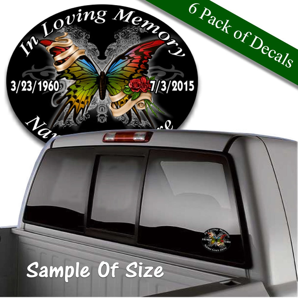 in loving memory vinyl decal colorful butterfly