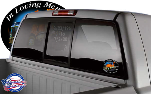 in loving memory decal sticker big rig truck
