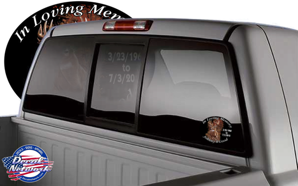 custom in loving memory decal sticker window color deer
