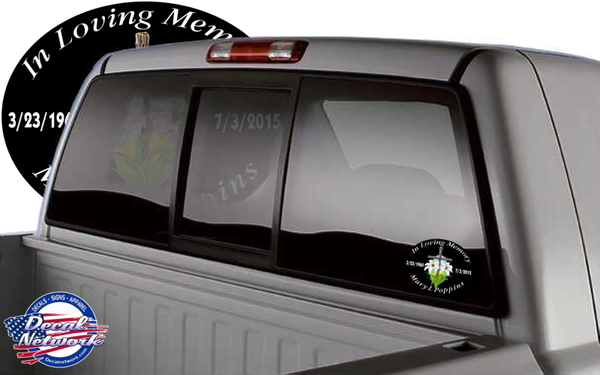 Custom In Loving Memory Memorial Oval vinyl decal Wooden Cross Flowers