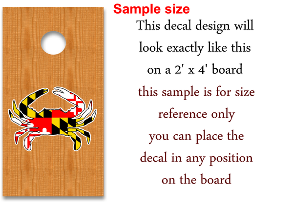 maryland flag blue crab decal sticker cornhole baord