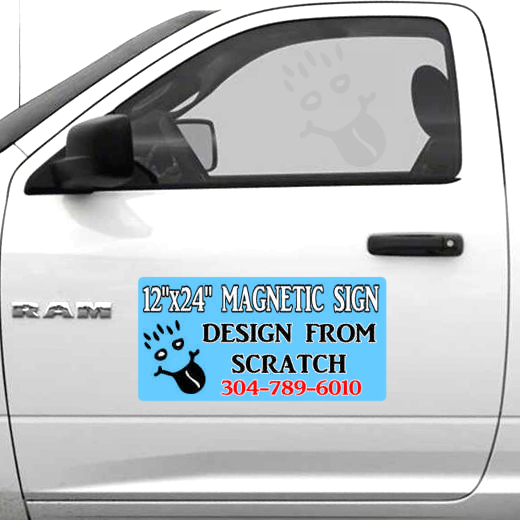 "Custom Full Color 12""x 24"" Magnetic signs vehicle doors"