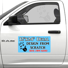 "Custom Full Color 12""x 24"" decal vehicle doors"