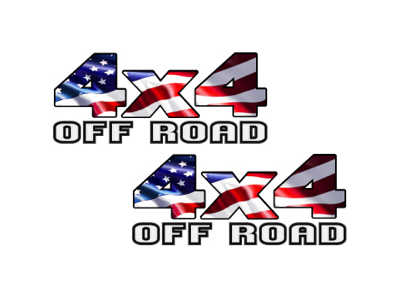 Image of 4x4 American flag Off Road vinyl decal Truck SUV sticker USA