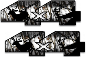 4x4 Snow camo bow hunter deer decal