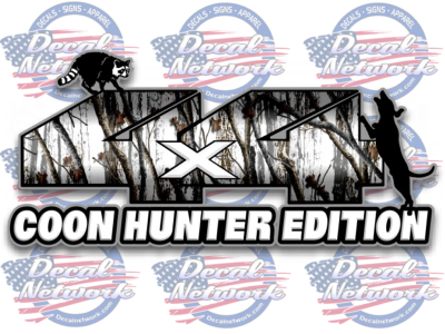 Image of 4X4 snow camo coon hunter edition vinyl decal