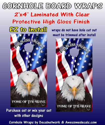 American Flag Eagle God Bless America Home of the Brave cornhole board wraps