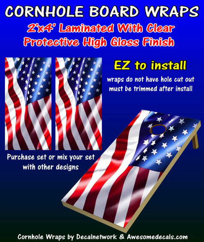 American Flag waving cornhole board wraps