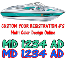 Custom Boat Watercraft Registration Numbers Multi color design online