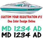Custom Boat Watercraft Registration Numbers one color design online