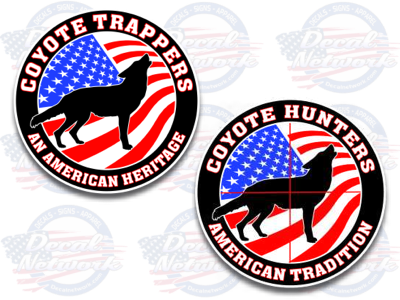 coyote trapper hunting full color vinyl decal