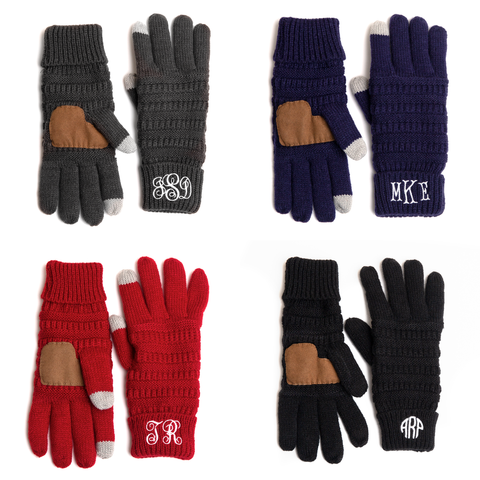 Image of Personalized Monogrammed Gloves with finger boast for touch screen