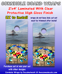 Outdoors Theme Cornhole Board Wraps