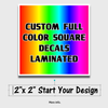 custom printed full color square decal sticker