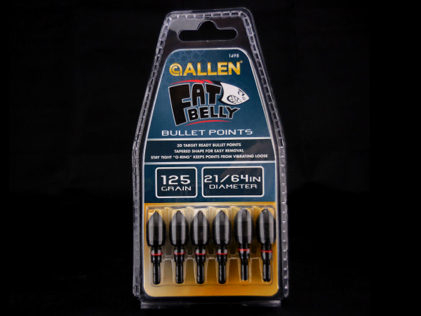 "Allen Fat Belly bullet points 21/64"" 125 grain."