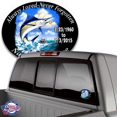 Image of in loving memory saltwater fishing boat decal