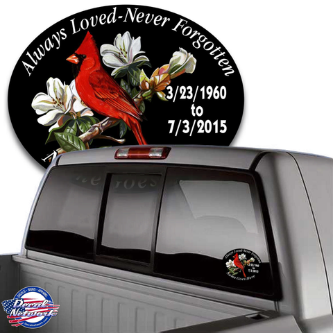 in loving memory vinyl decals cardinal bird