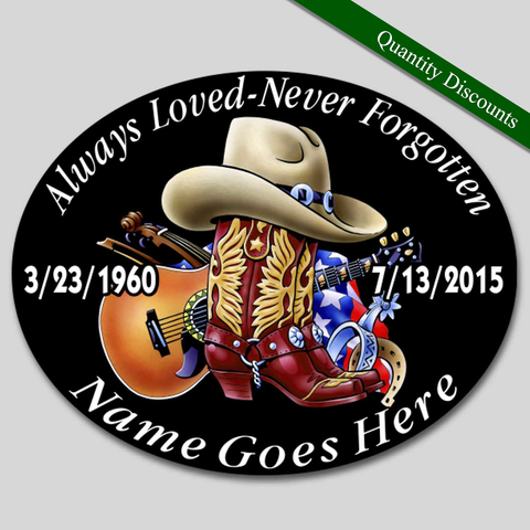 Image of in loving memory country music cowboy hat boots guitar decal