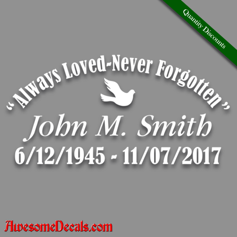 Image of in loving memory of dove decal