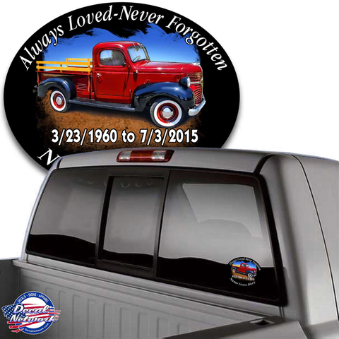 Image of in loving memory decal old antique truck