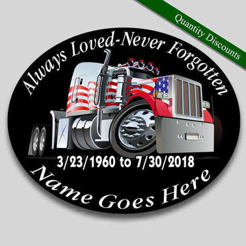 Image of in loving memory truck driver decal